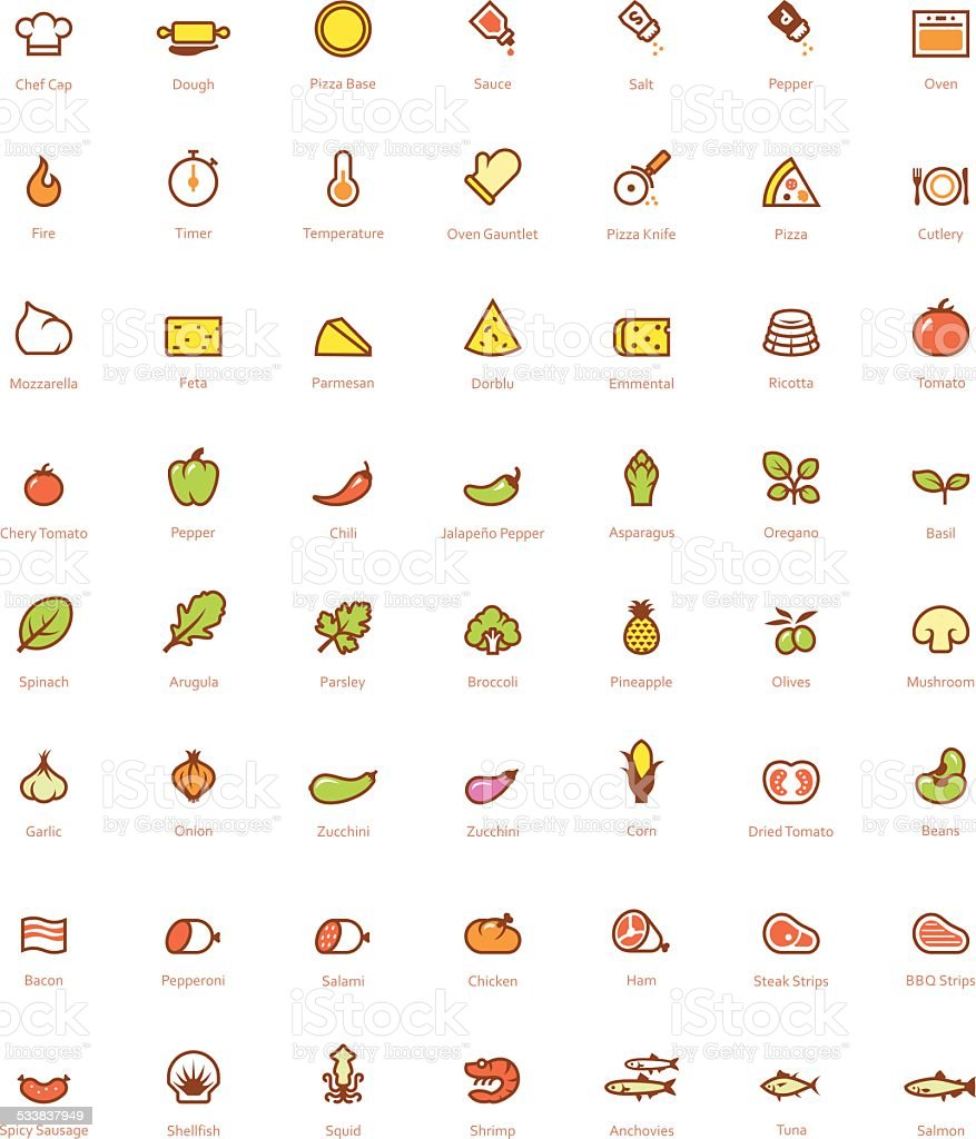 Pizza icon set vector art illustration
