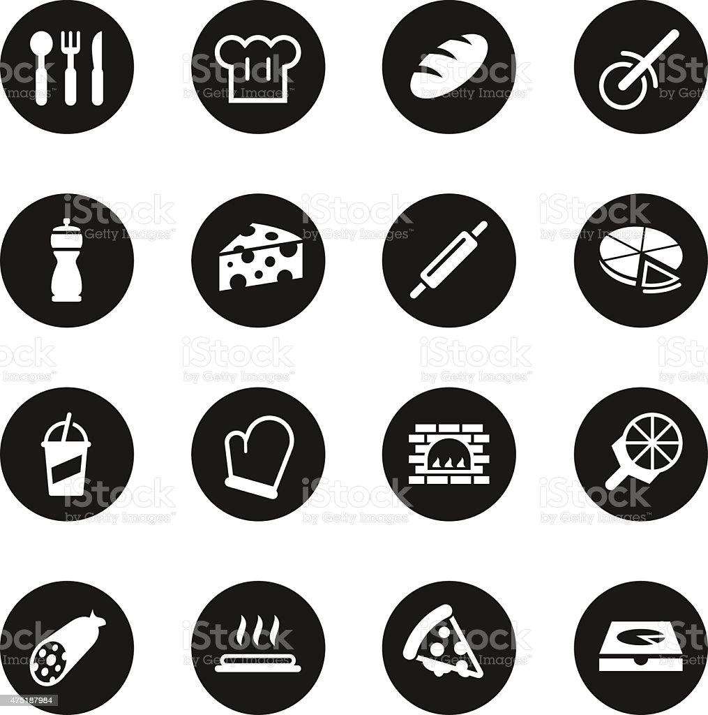 Pizza Icons - Black Circle Series vector art illustration