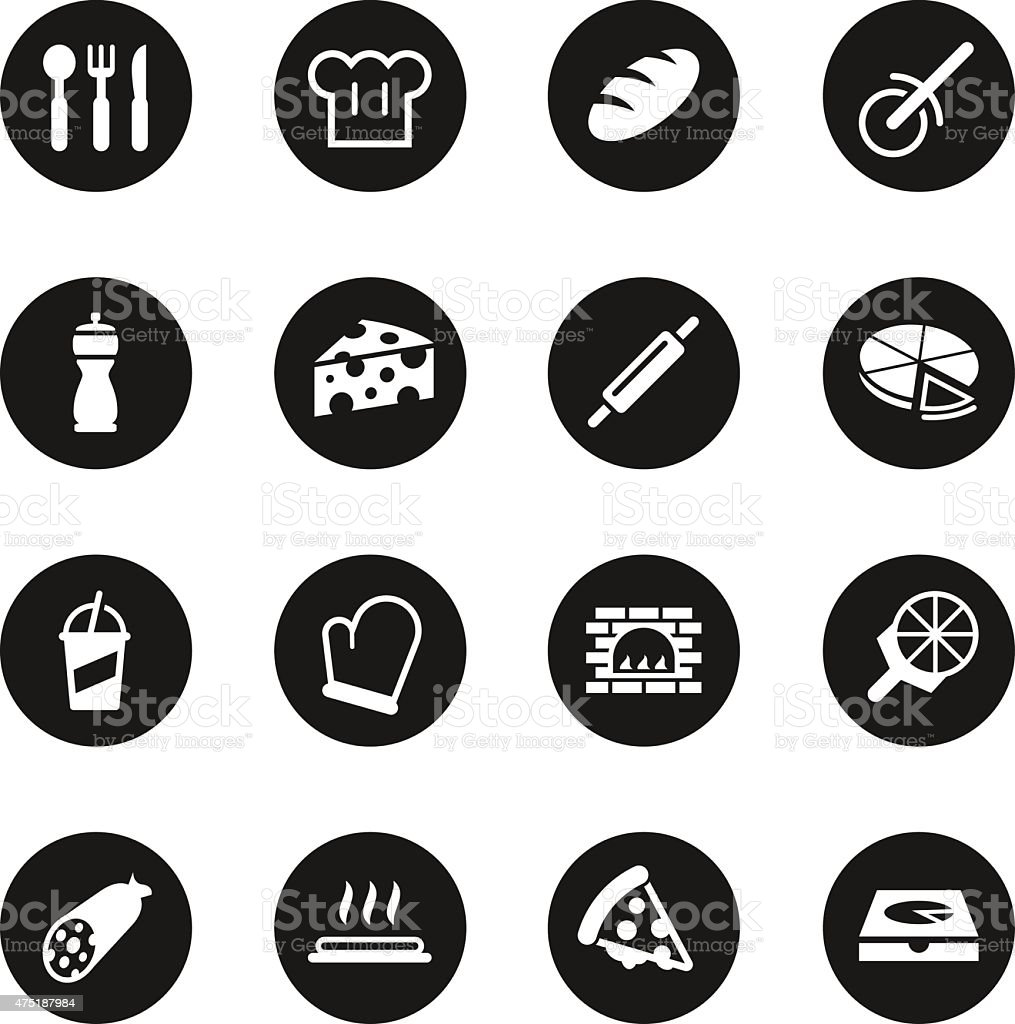 Pizza Icons - Black Circle Series vector art illustration