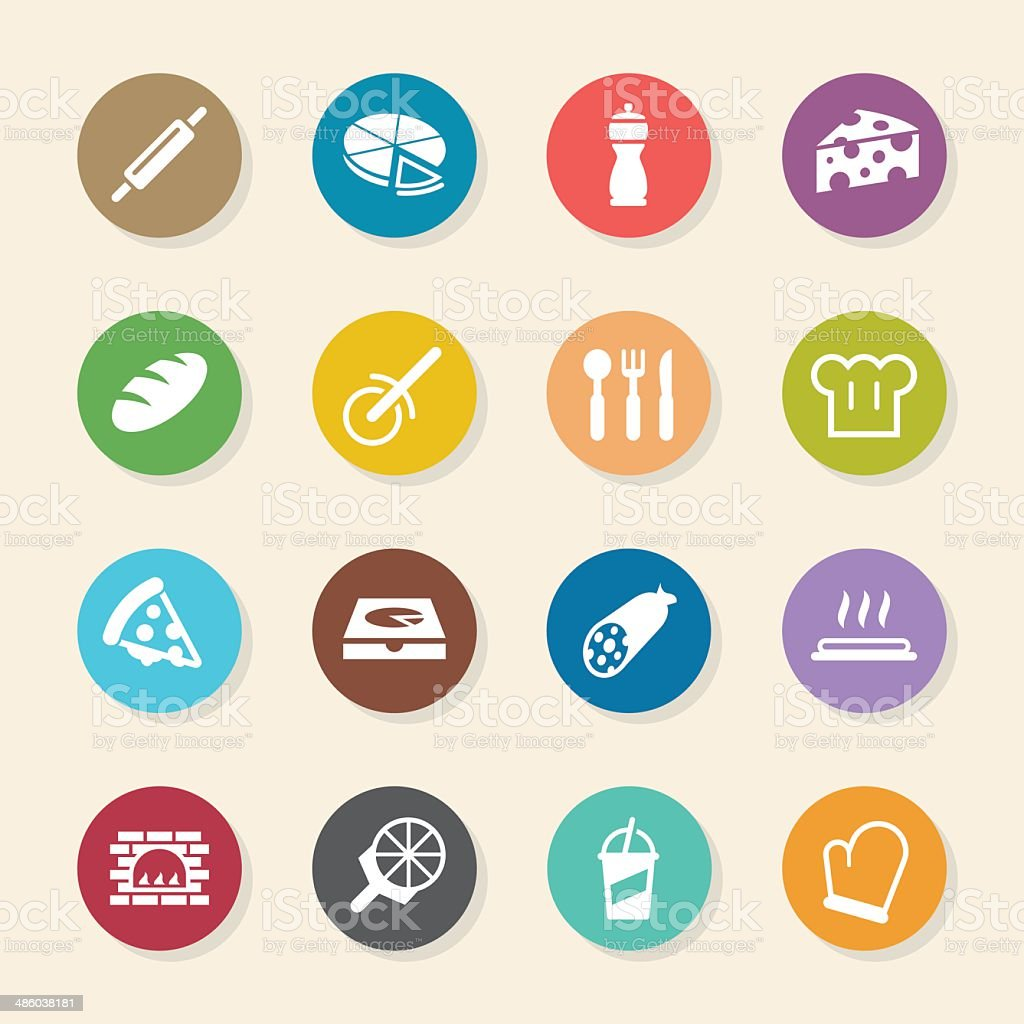 Pizza Icons - Color Circle Series vector art illustration
