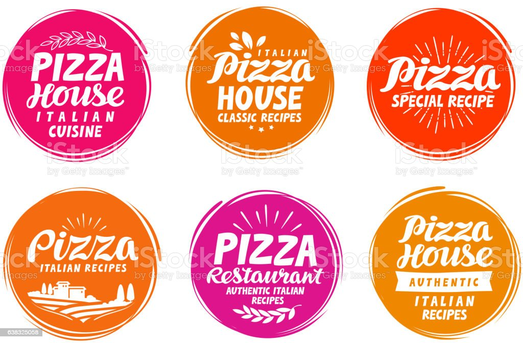 Pizza icons set. Collection labels for menu design restaurant or vector art illustration