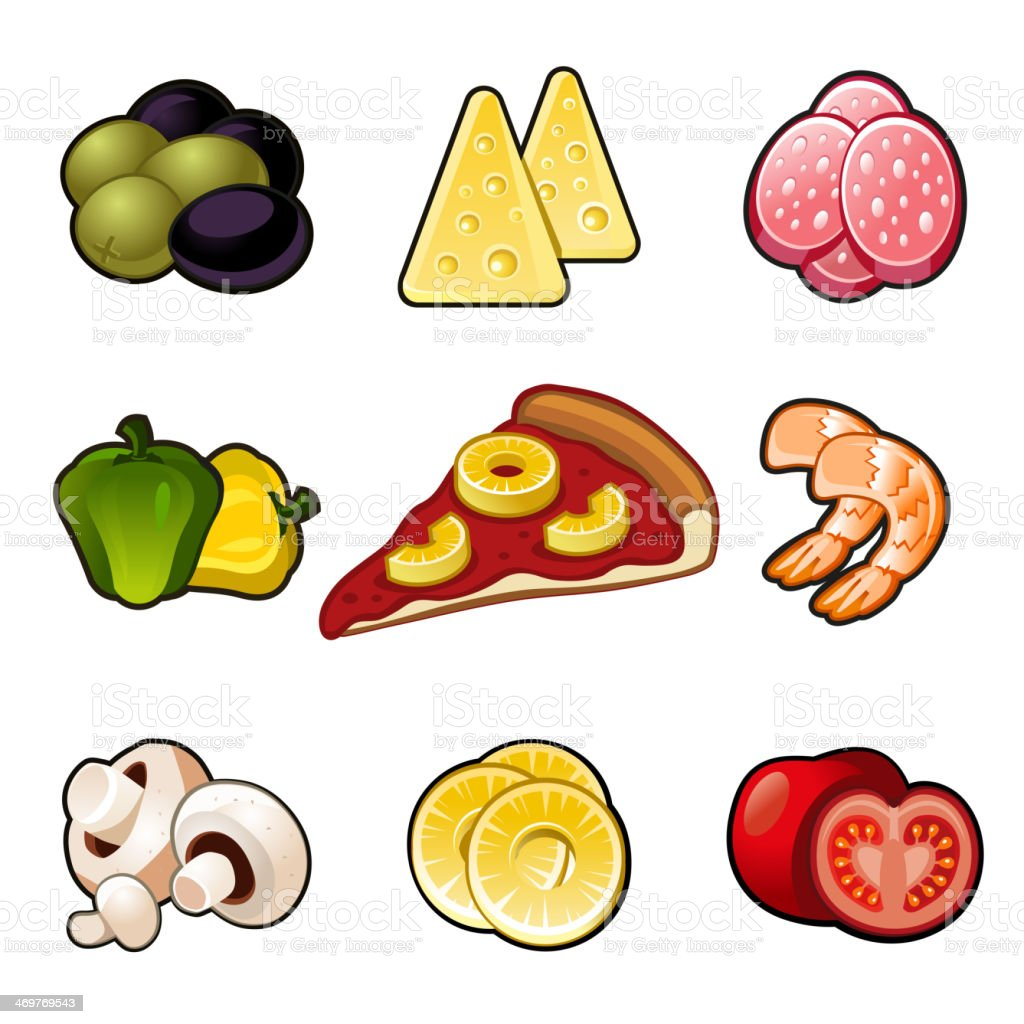 Pizza icons set royalty-free stock vector art