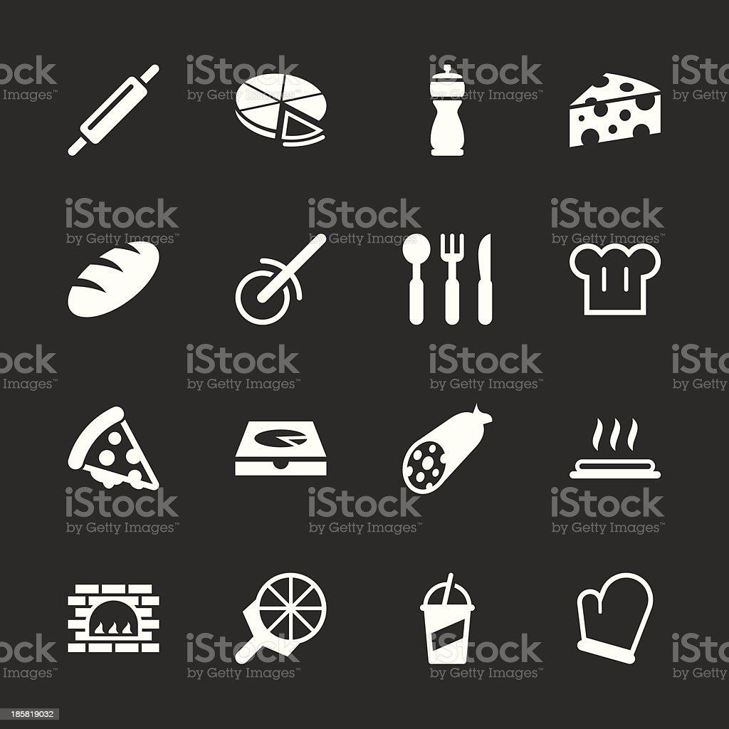 Pizza Icons - White Series vector art illustration