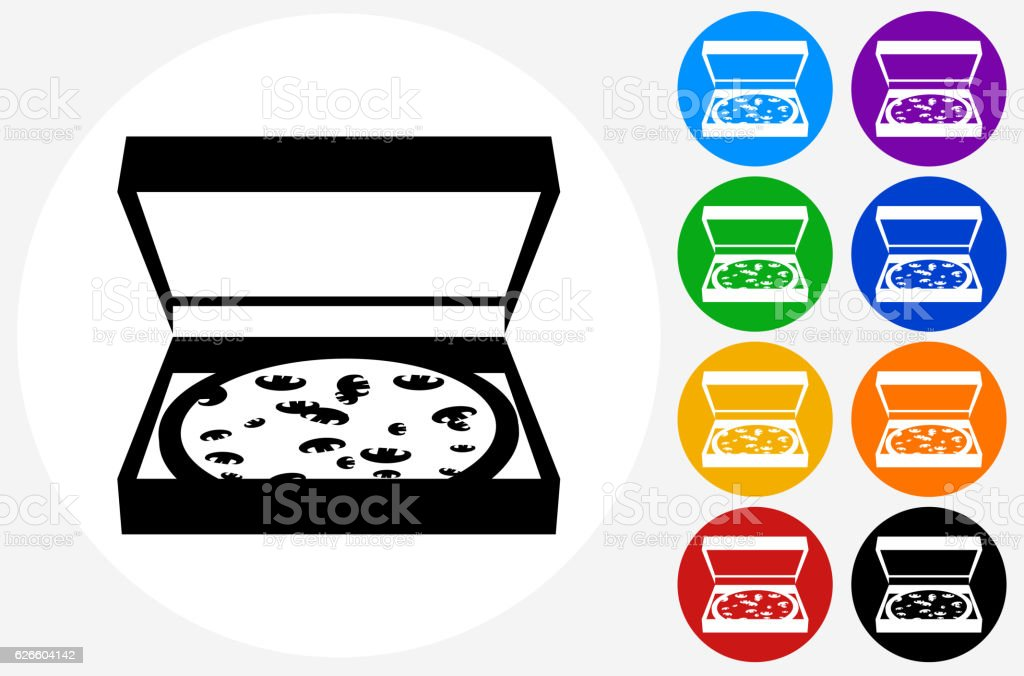 Pizza in Box Icon on Flat Color Circle Buttons vector art illustration