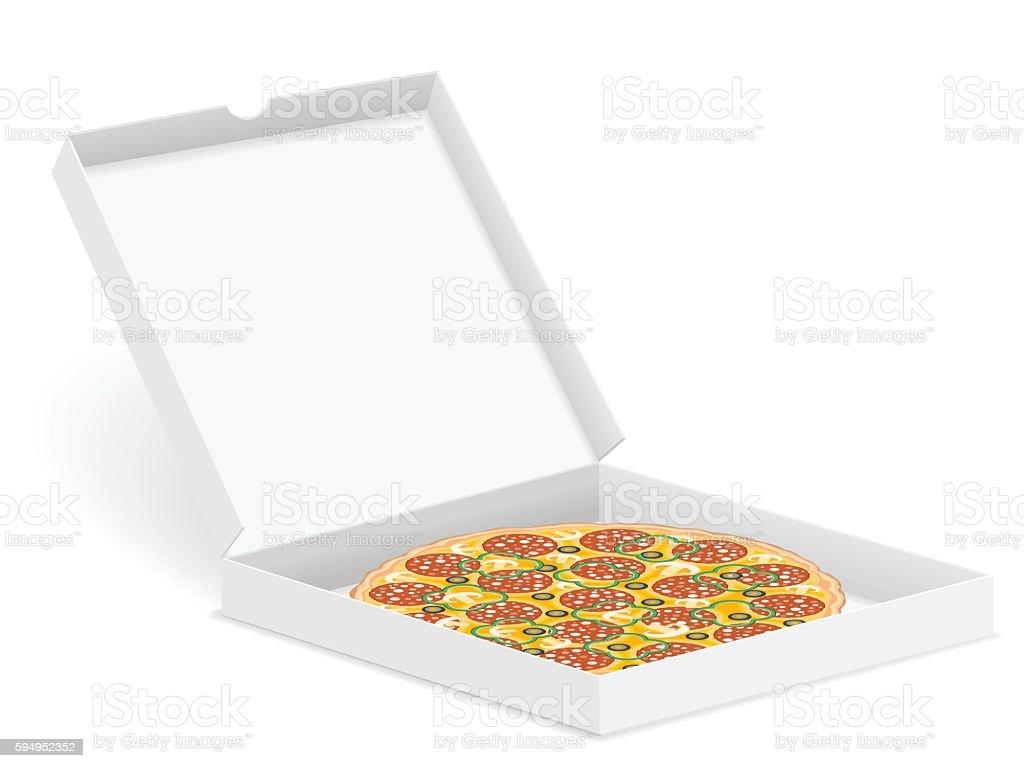 pizza in box vector art illustration