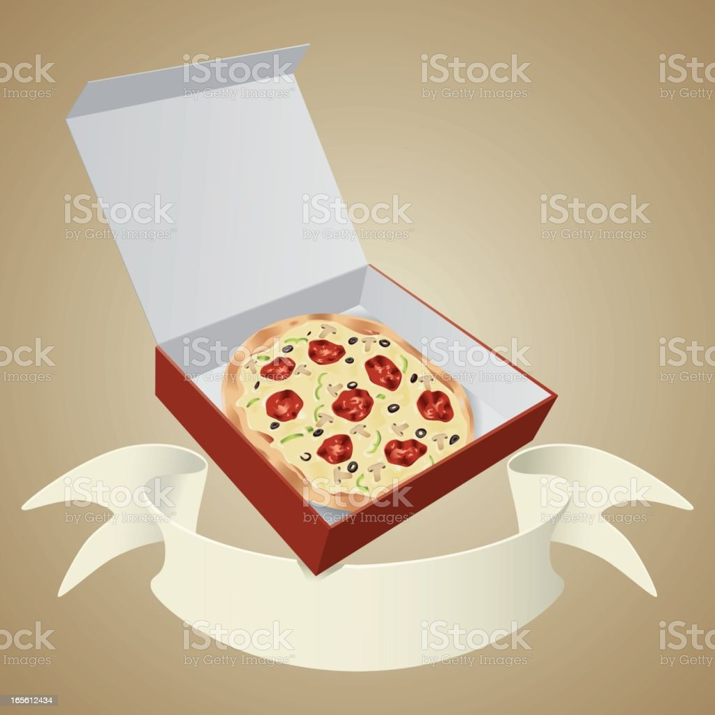 Pizza in cardboard box with banner vector art illustration