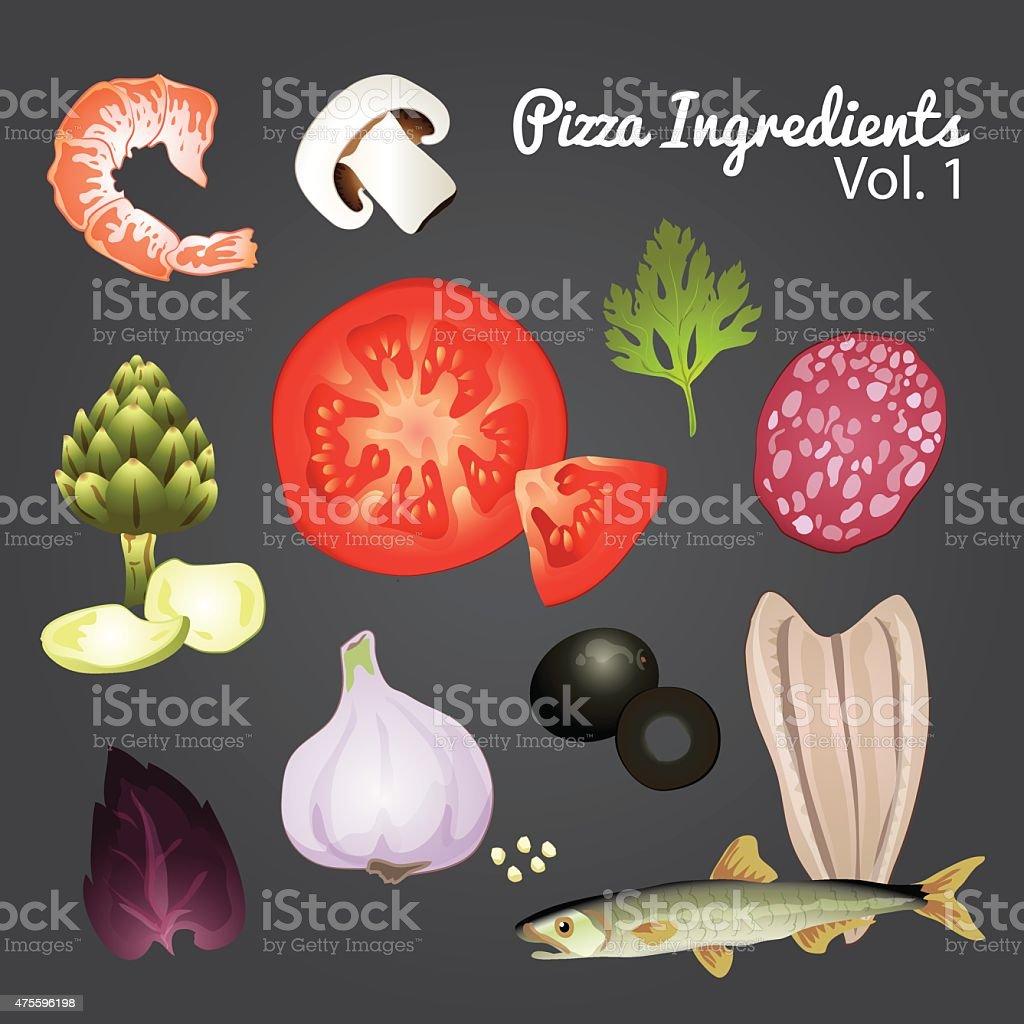 Pizza ingredients and supplies. Vector mega set. vector art illustration