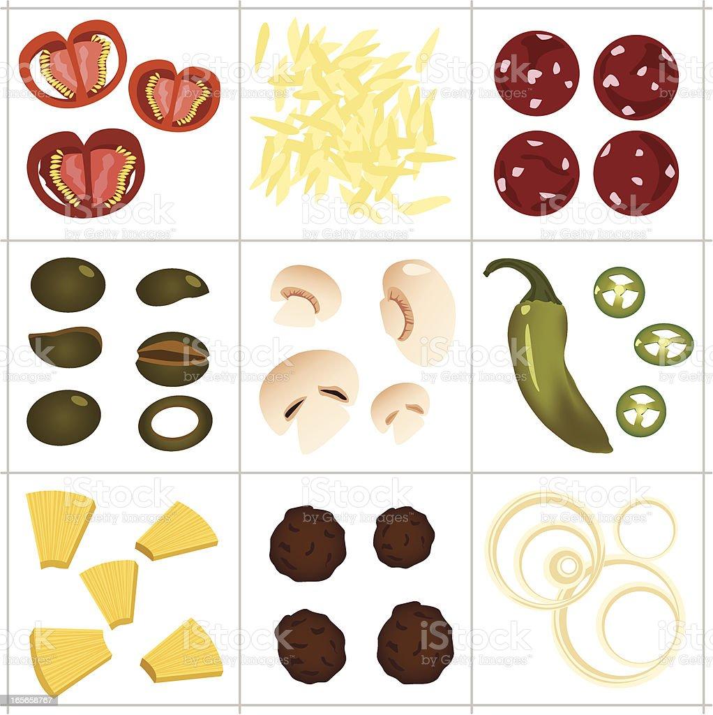 Pizza ingredients vector art illustration