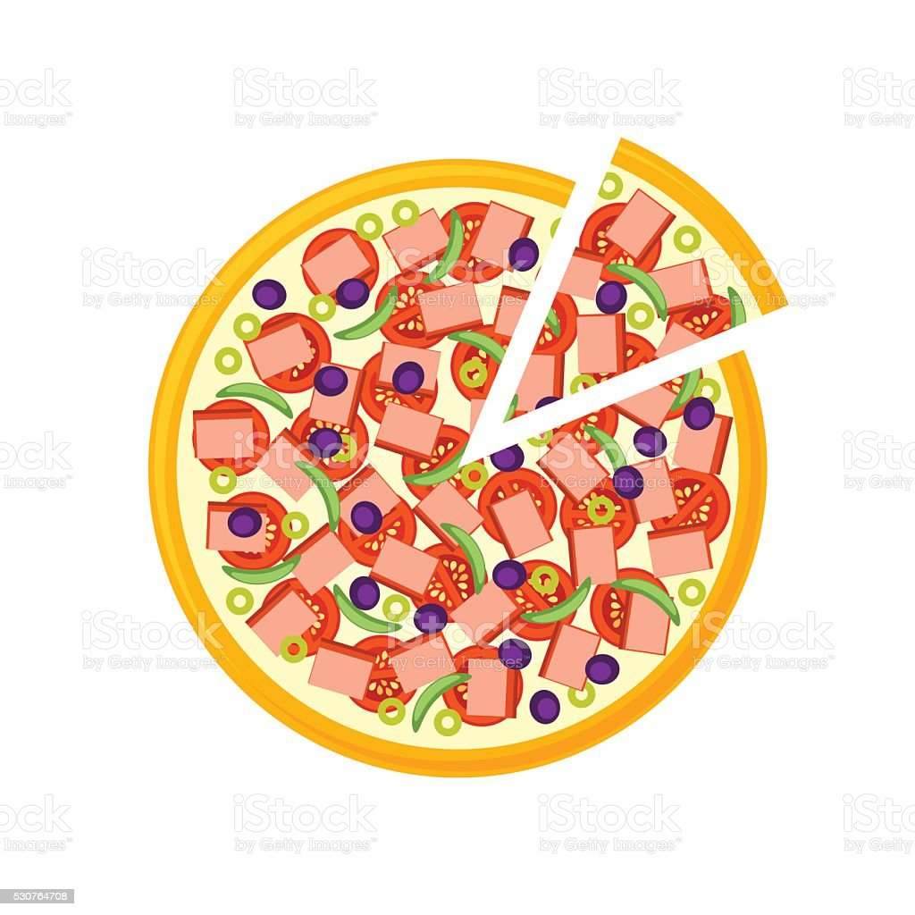 Pizza isolated on white background vector art illustration