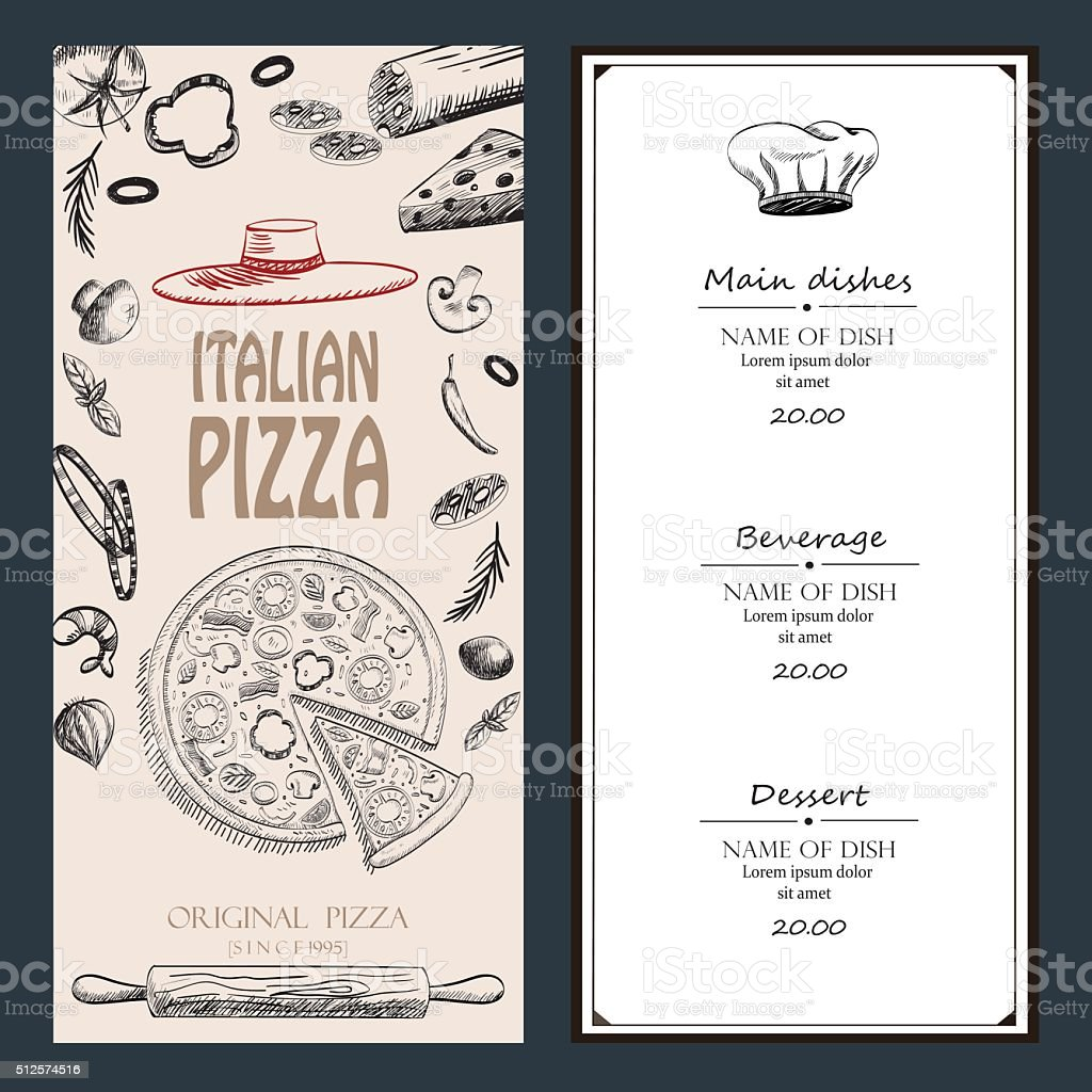 Pizza Italian with raw material drawing food design menu flyer vector art illustration