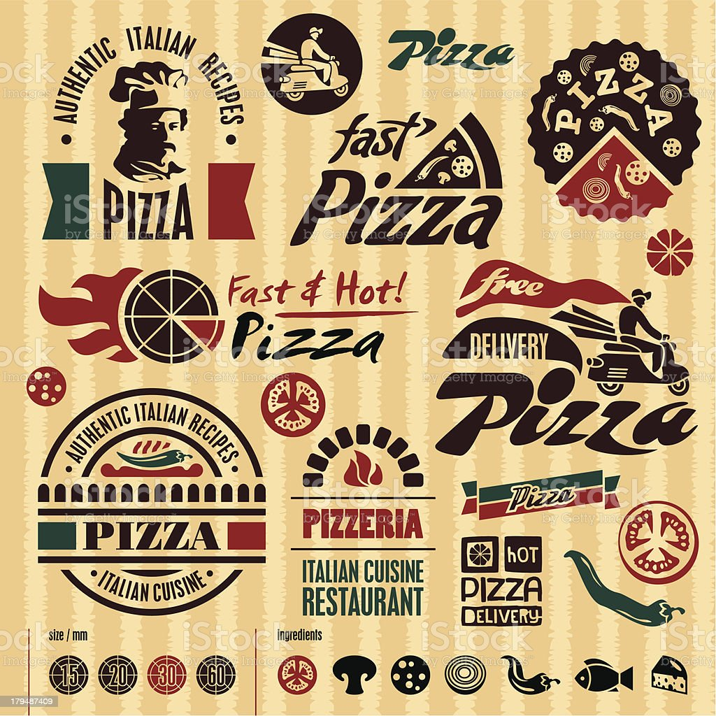 Pizza labels collection vector art illustration