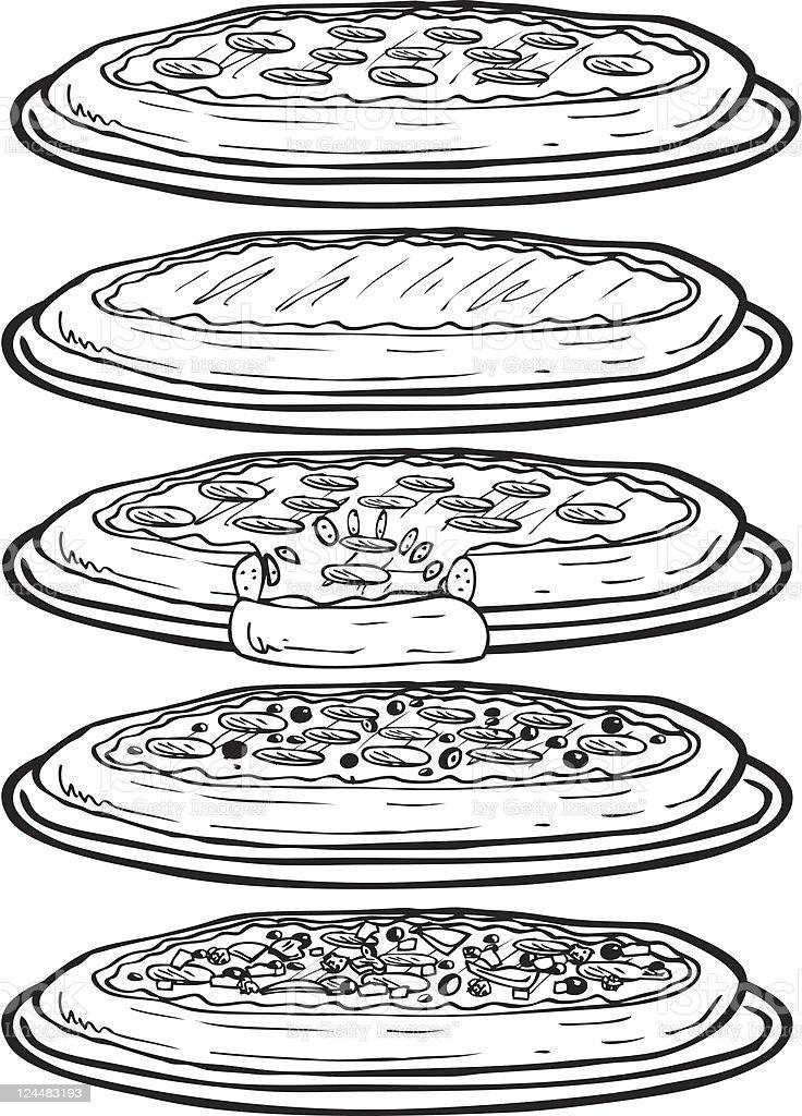 Pizza Line Art vector art illustration