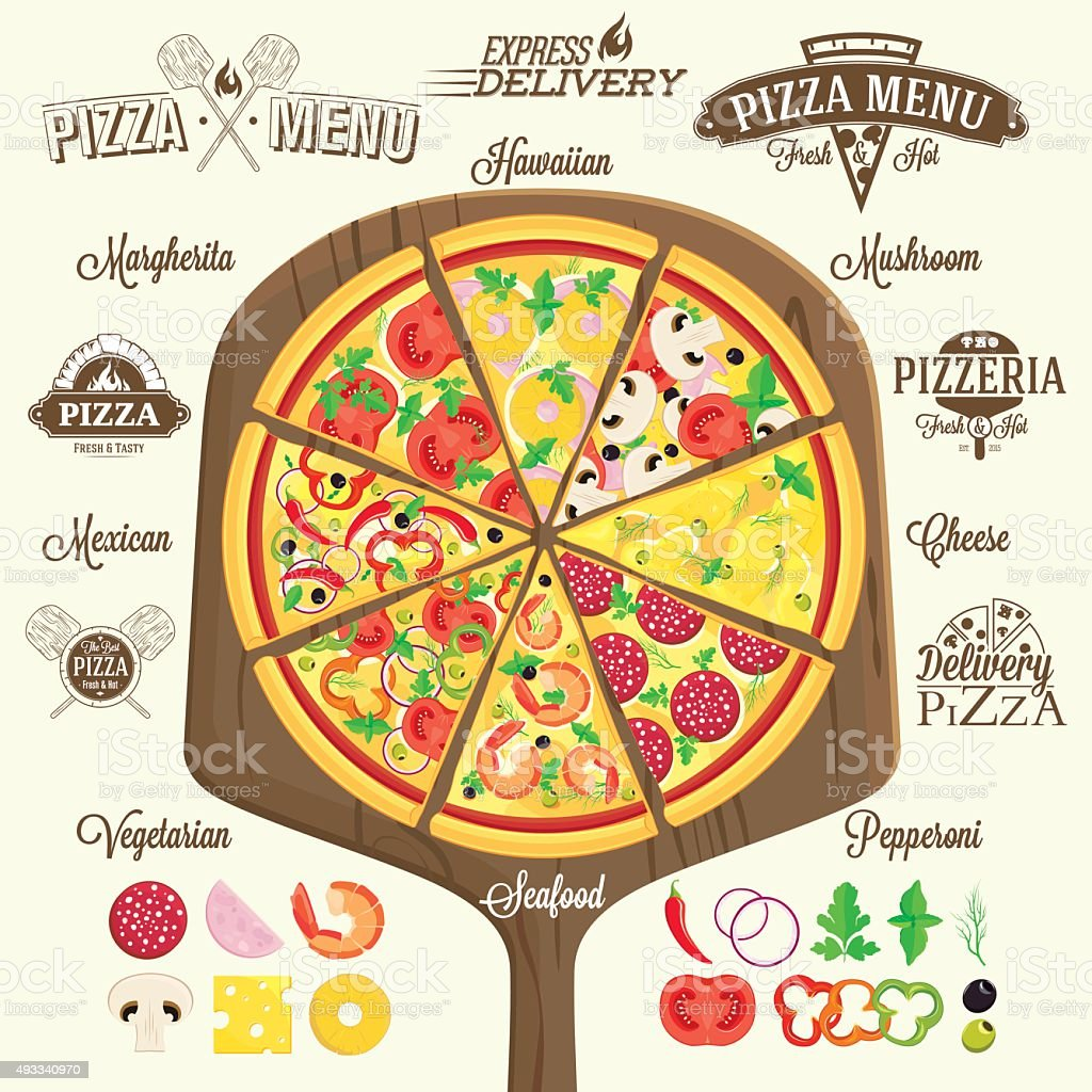 Pizza menu, labels and design elements vector art illustration