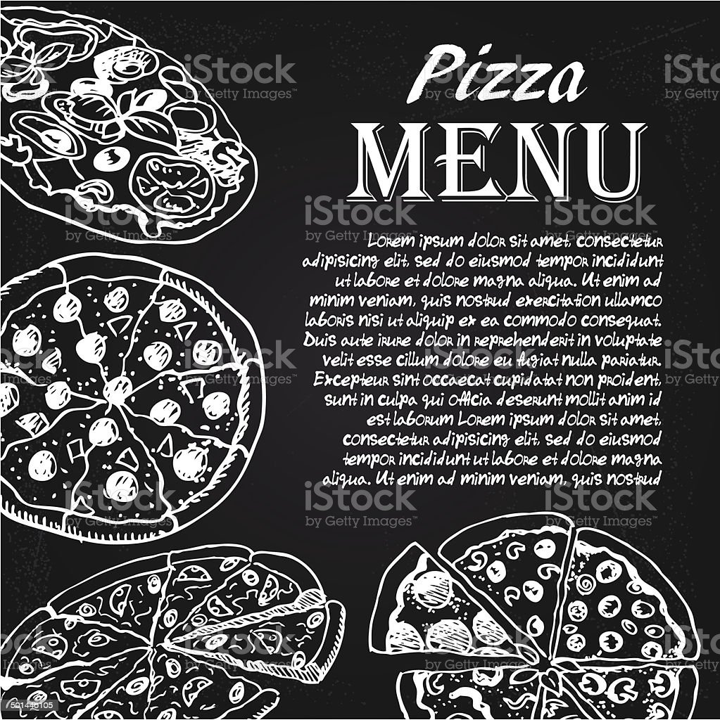 pizza menu vector art illustration