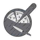 Pizza on cutting board icon in monochrome style isolated on