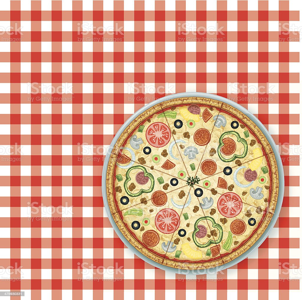 Pizza Party Picnic Background vector art illustration