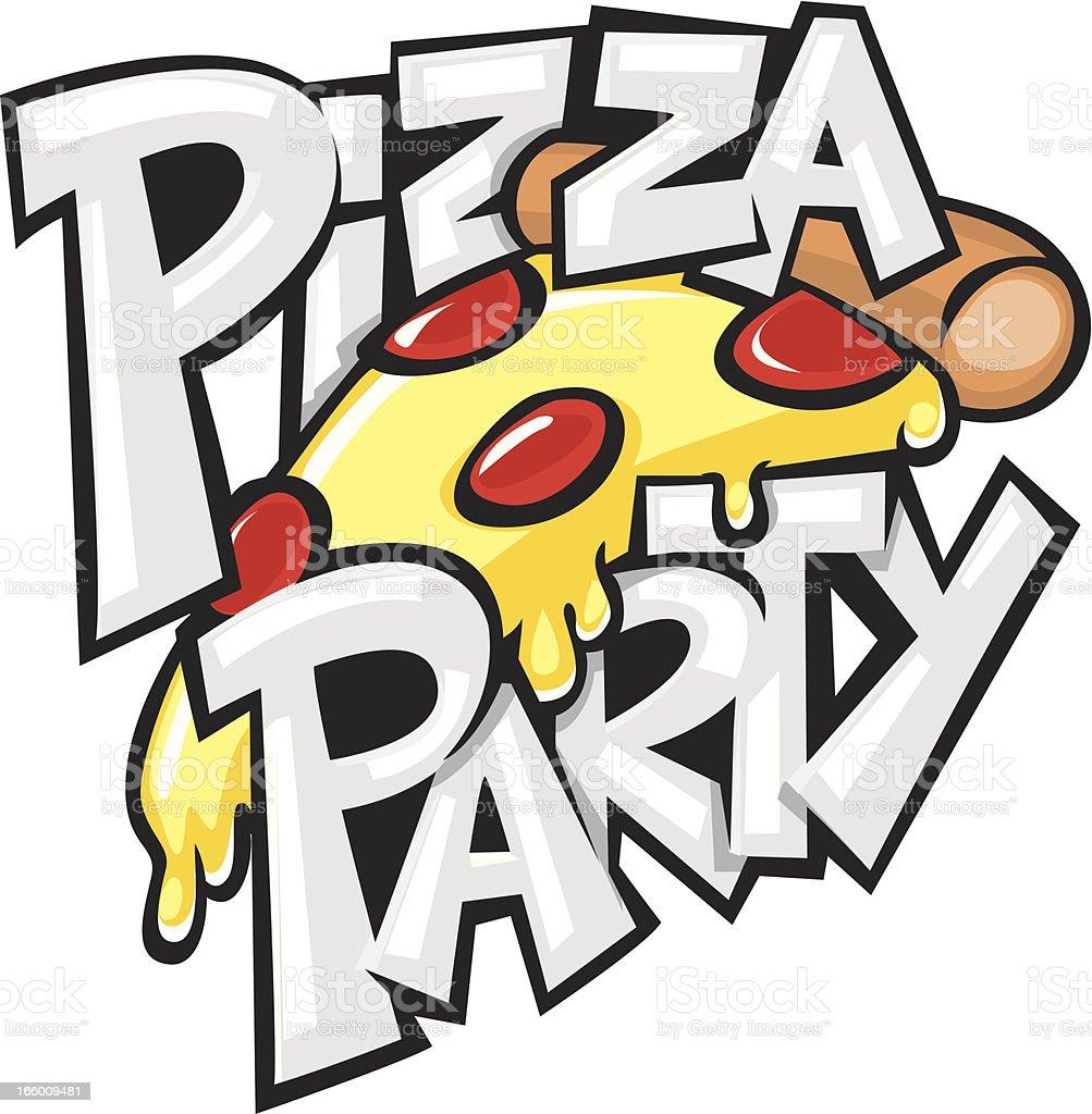 pizza party vector art illustration