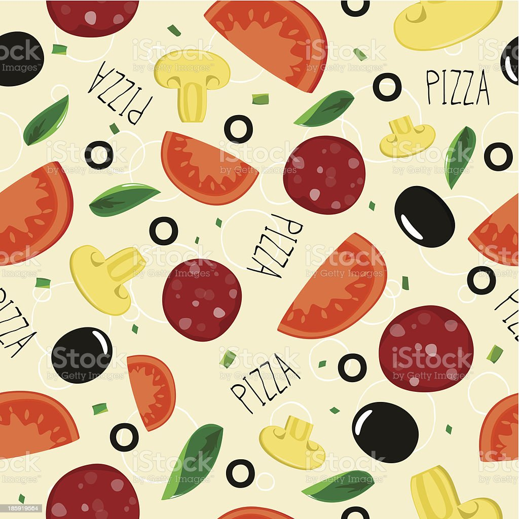 Pizza pattern with sausage on beige background. royalty-free stock vector art