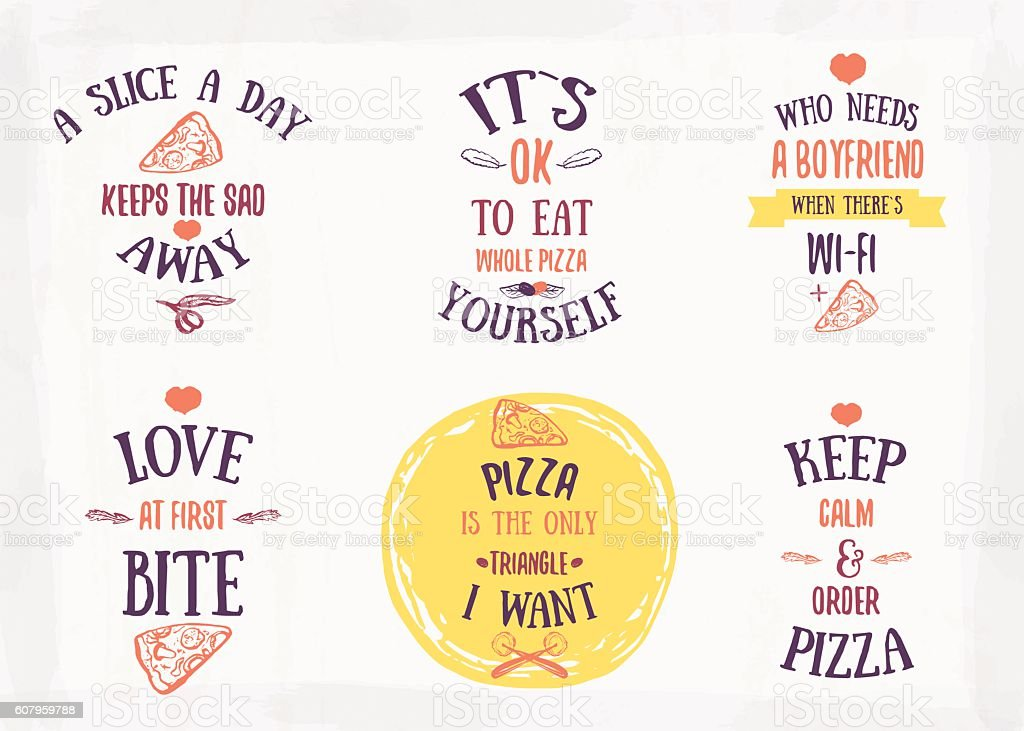 Pizza quote typographical set. vector art illustration