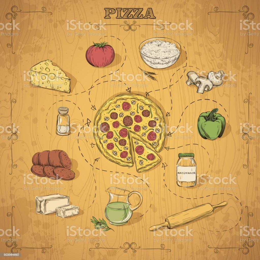 Pizza recipe. Hand drawing. Vector illustration. vector art illustration