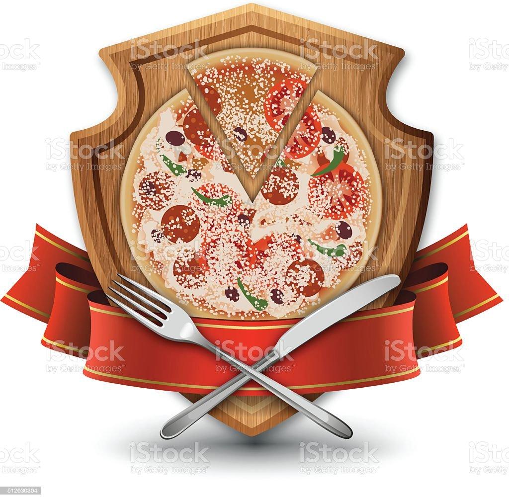 Pizza Restaurant Emblem vector art illustration