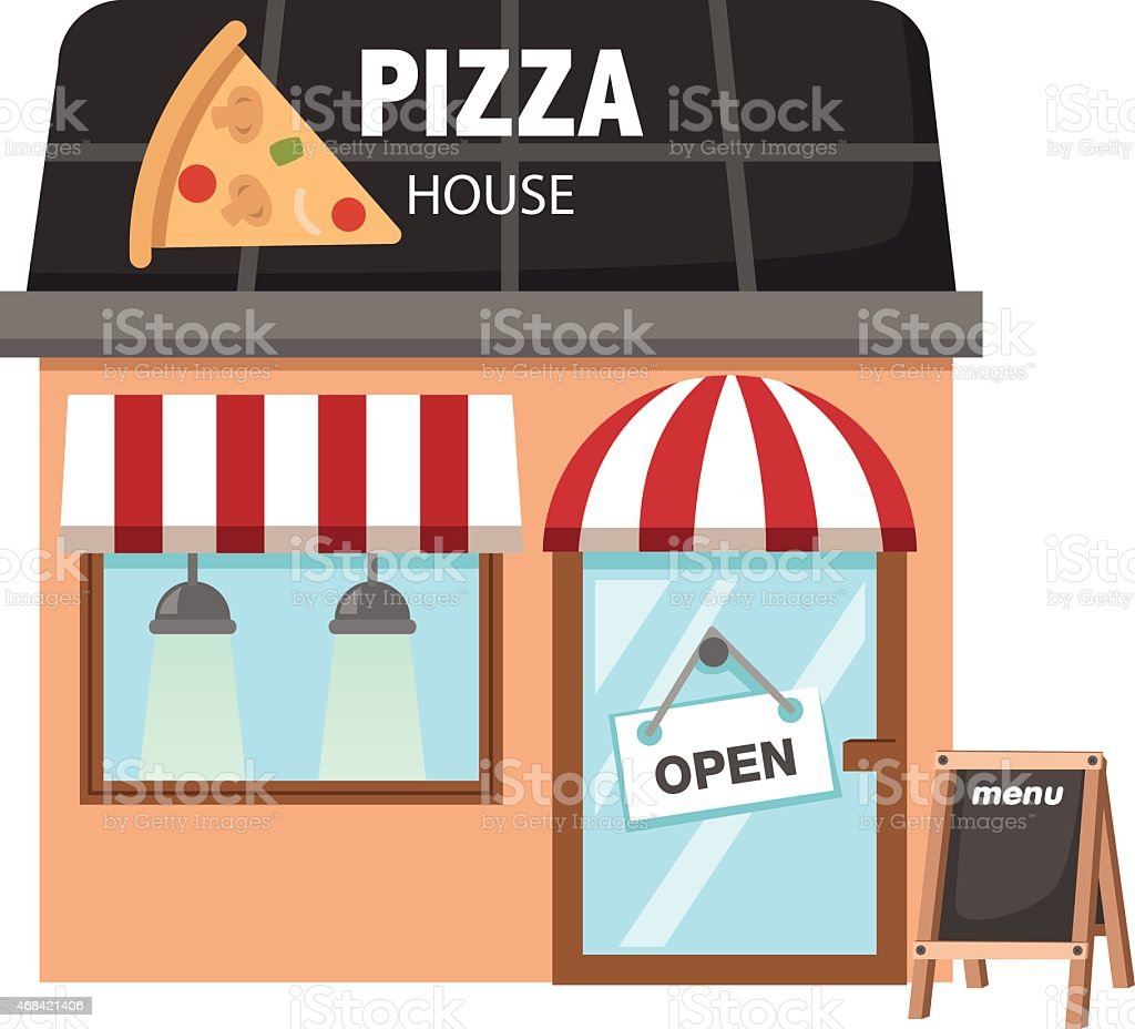 pizza restaurant vector vector art illustration