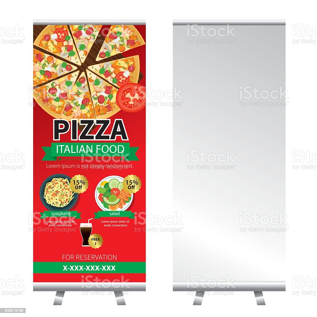 pizza roll up banner stand design vector art illustration
