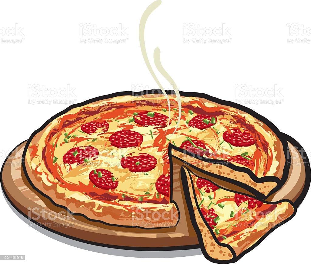 pizza salami vector art illustration
