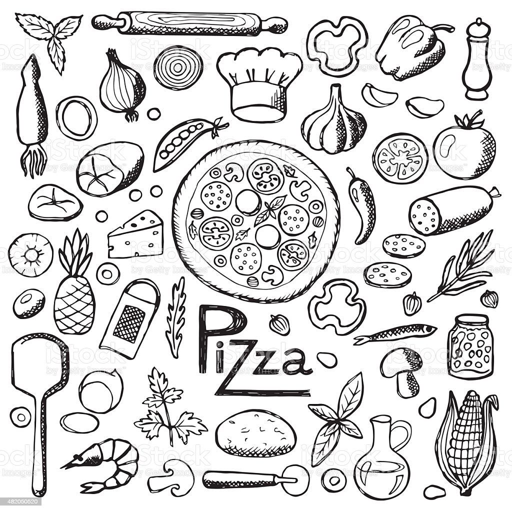 Pizza. Set hand drawn elements vector art illustration