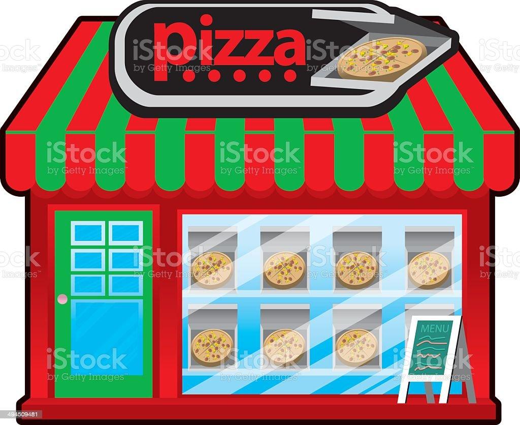 Pizza shop vector art illustration