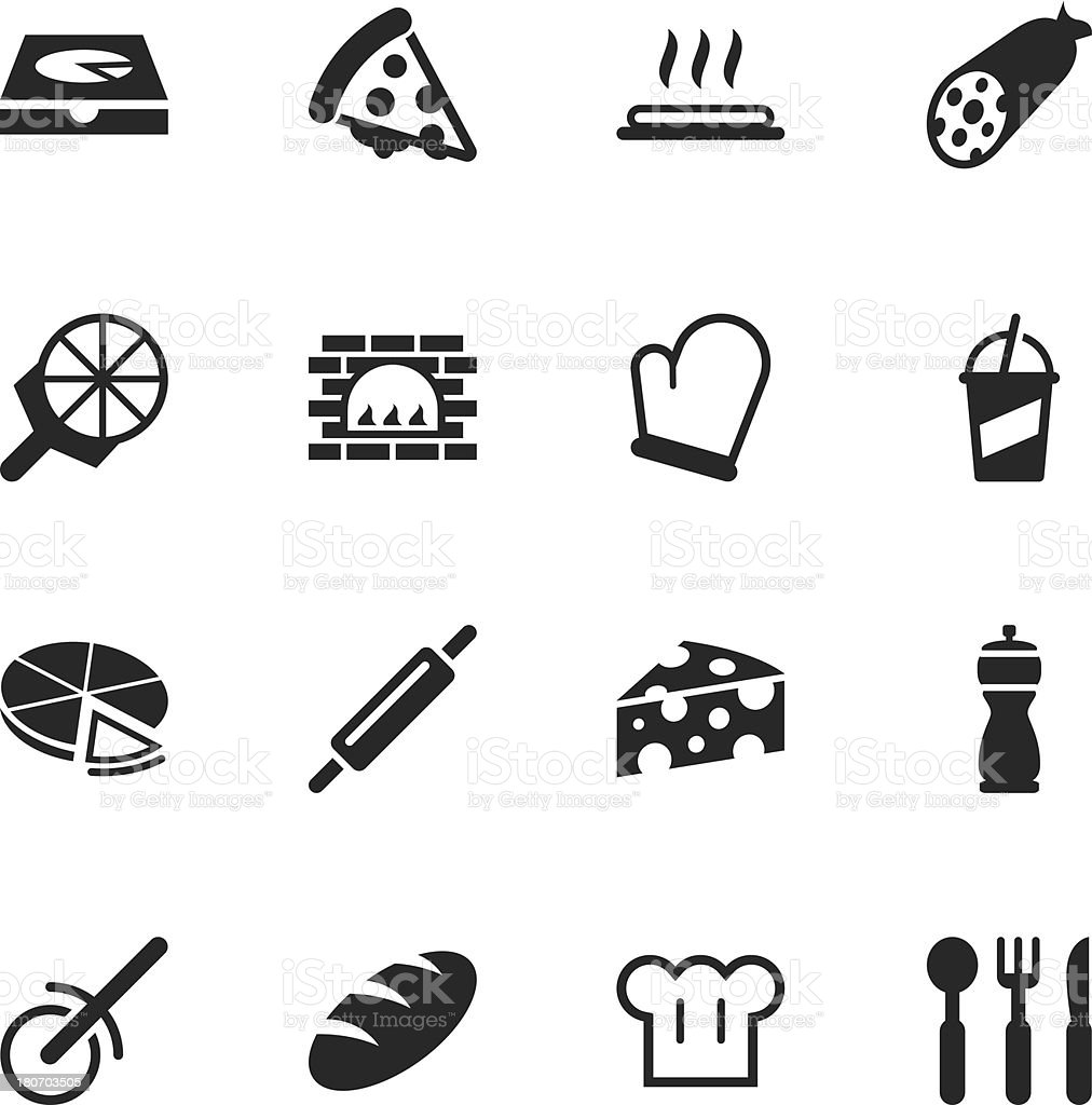 Pizza Silhouette Icons vector art illustration