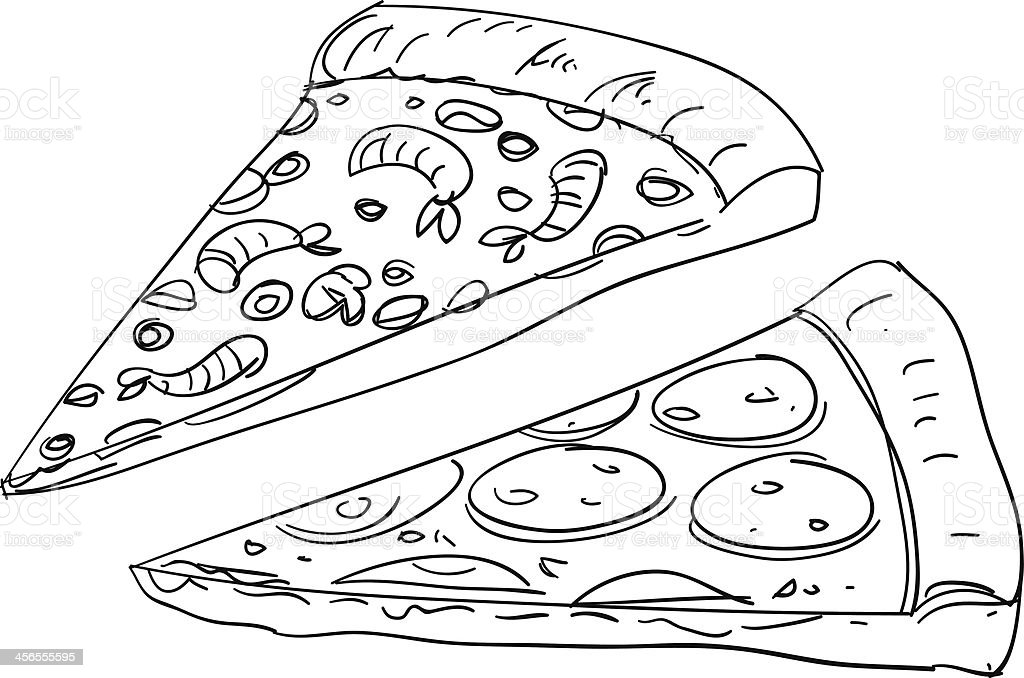 Pizza sketch illustration vector art illustration