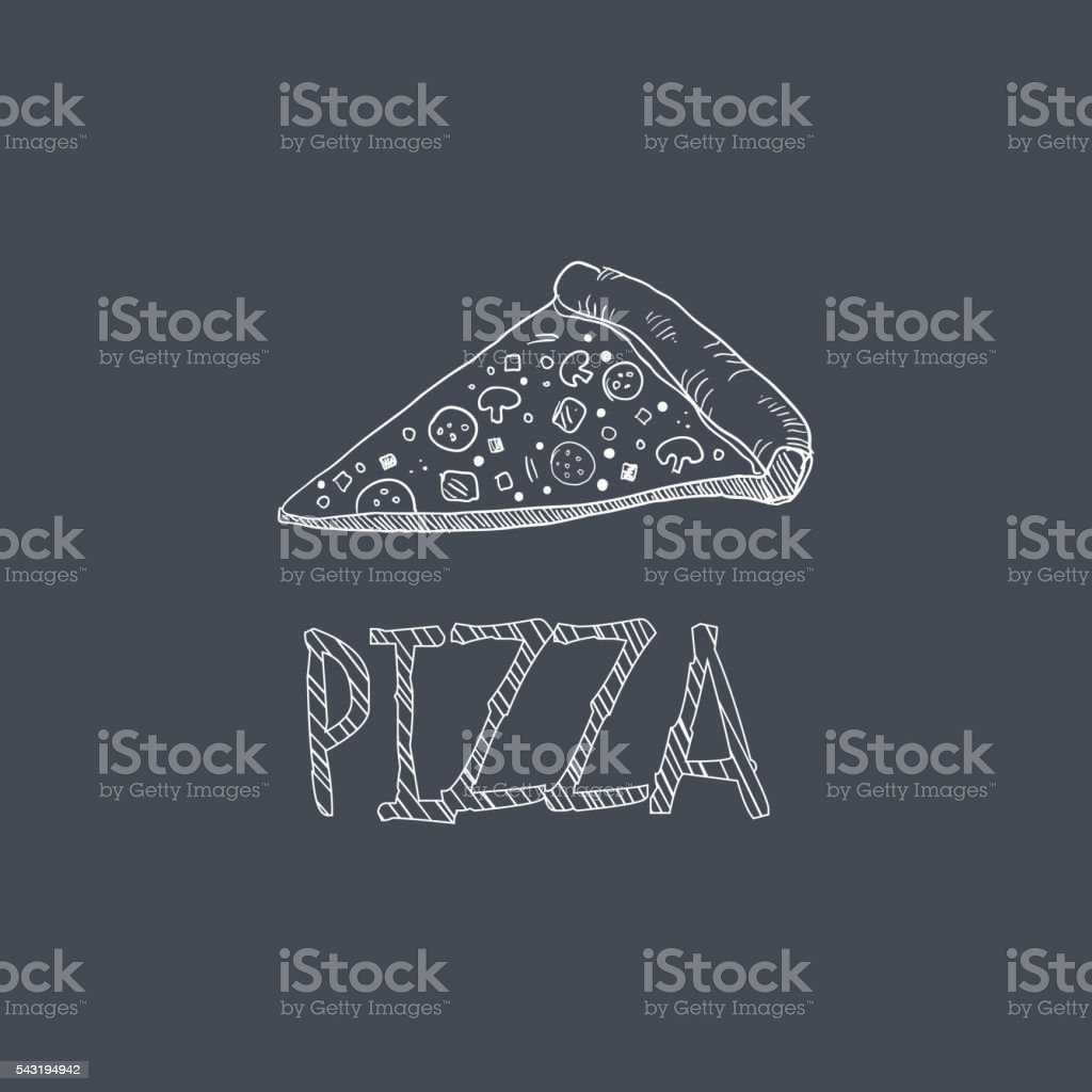 Pizza Sketch Style Chalk On Blackboard Menu Item vector art illustration