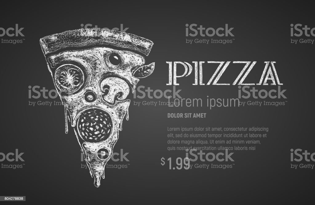 Pizza slice. Chalk drawing vector art illustration