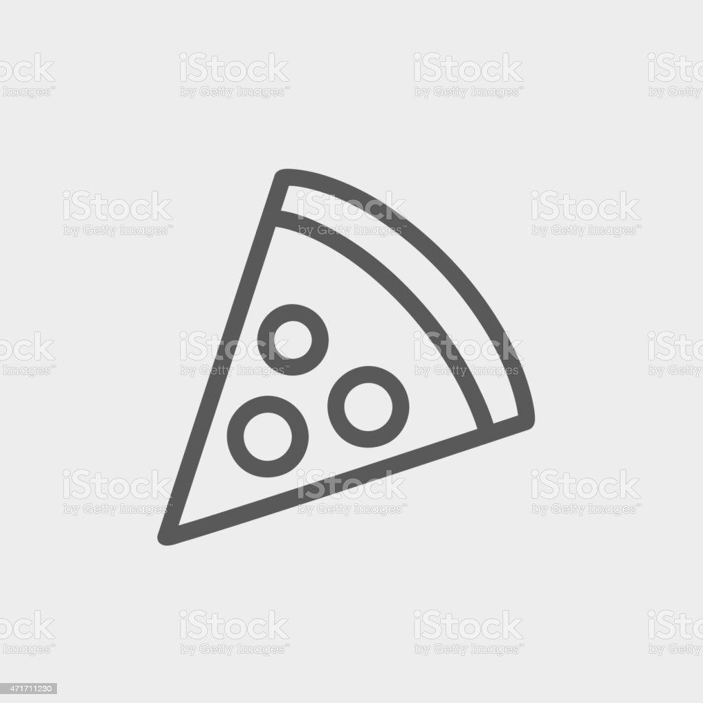 Pizza Slice Thin line icon vector art illustration