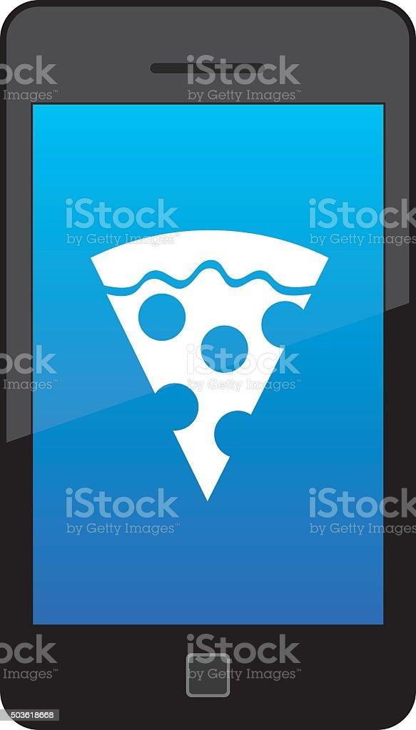 Pizza Smart Phone Icon vector art illustration