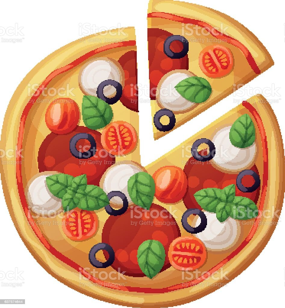Pizza top view. Cherry tomato, sausages or salami, mozarella, olives vector art illustration