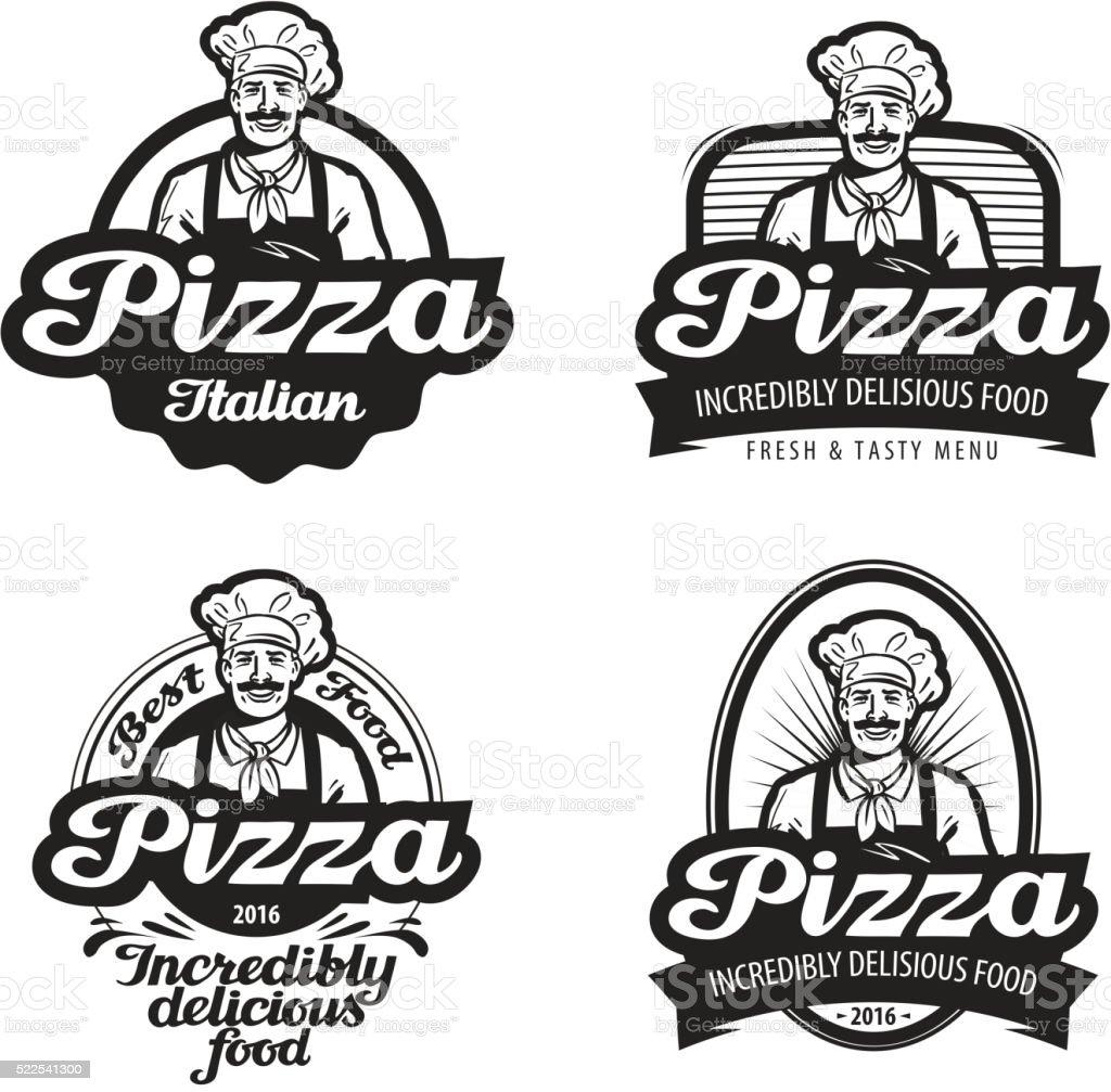 pizza vector logo. cafe, food, pizzeria, restaurant or chef icon vector art illustration