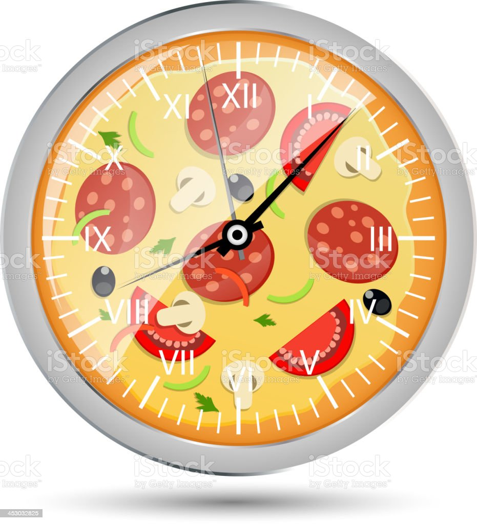 Pizza watch concept vector illustration royalty-free stock vector art