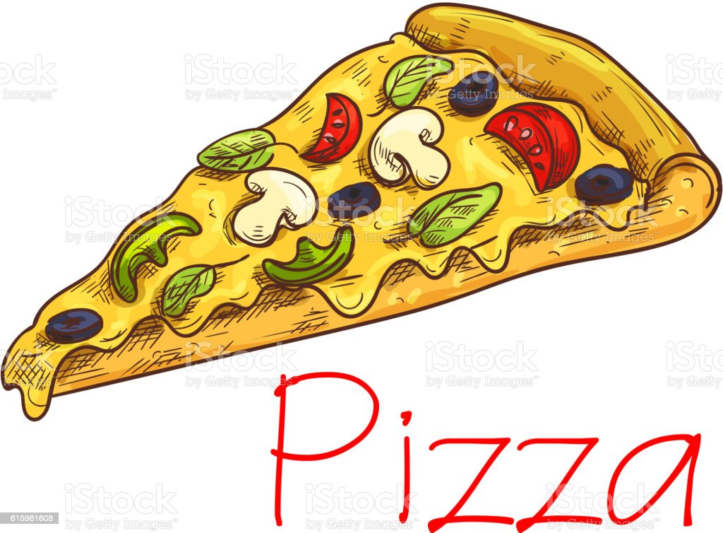Pizza with cheese and vegetables sketch vector art illustration