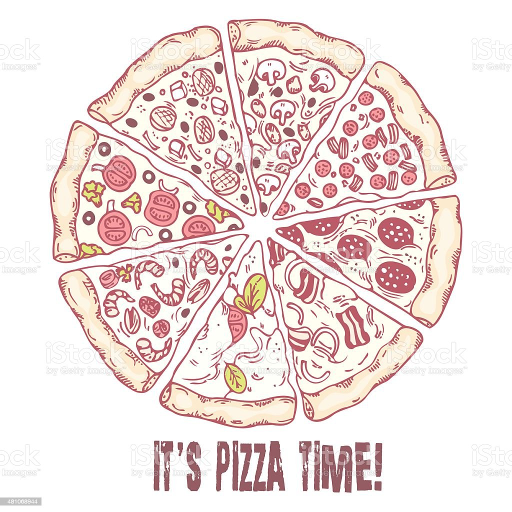 Pizza with different slices. Sketched vector illustration vector art illustration