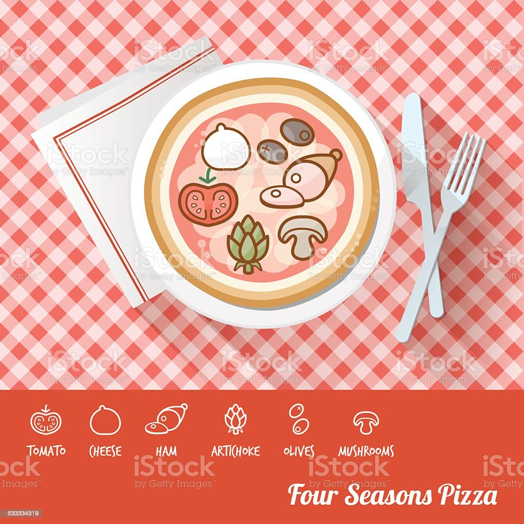Pizza with ingredients vector art illustration