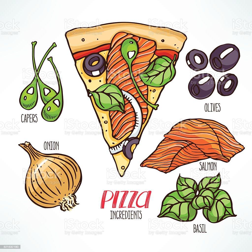 pizza with salmon vector art illustration