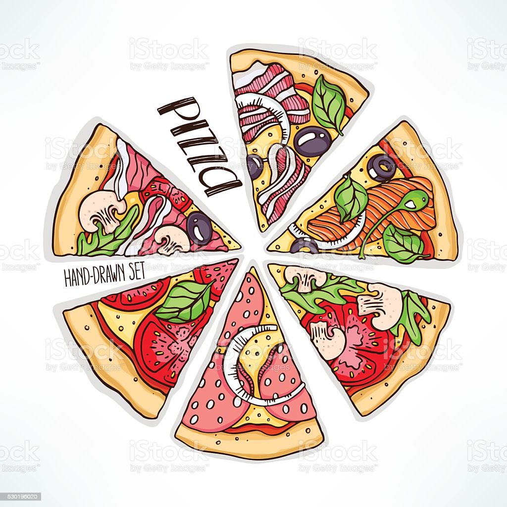 pizza with various stuffing vector art illustration