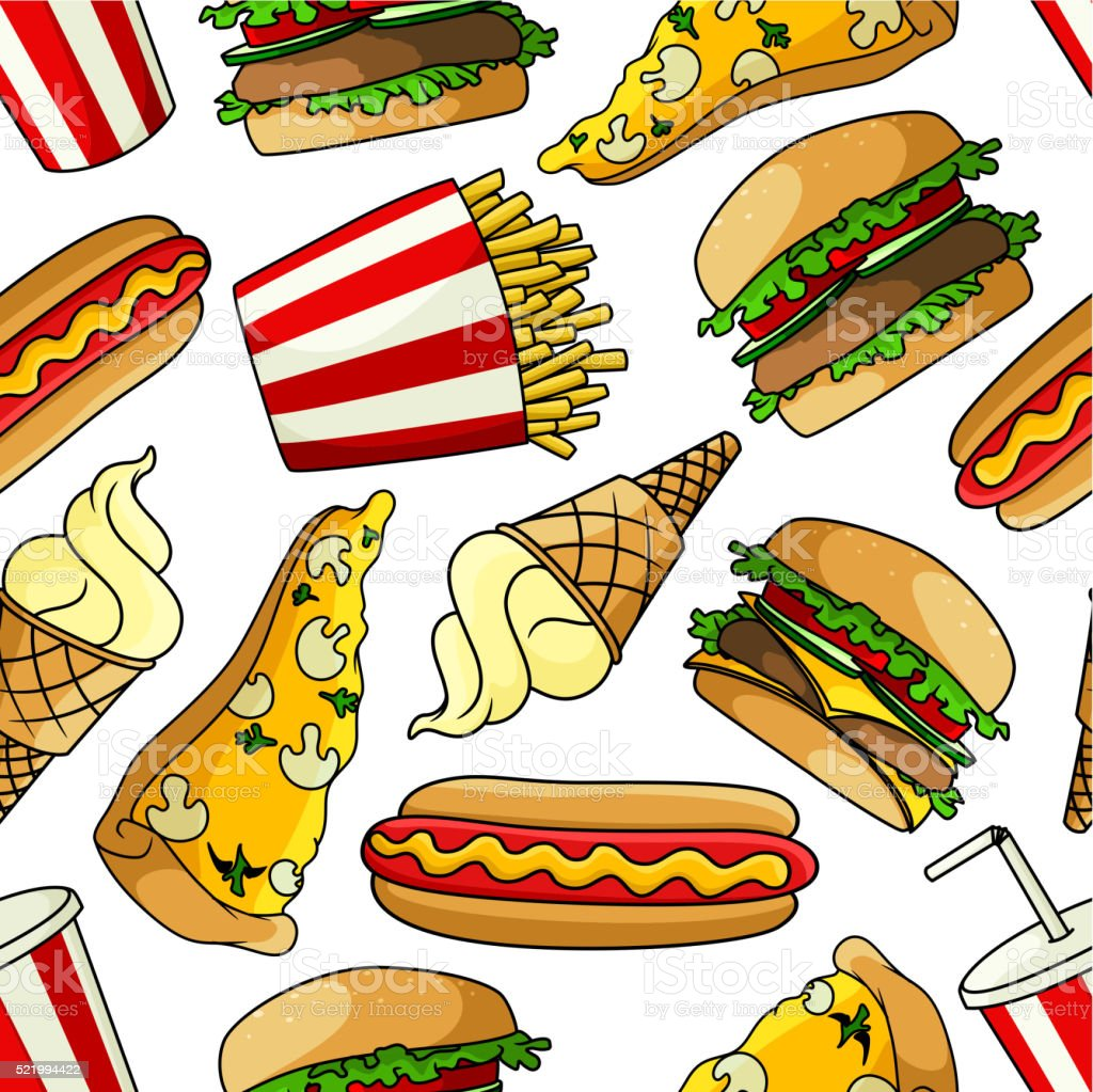 Pizzas, burgers, hot dogs, drinks seamless pattern vector art illustration