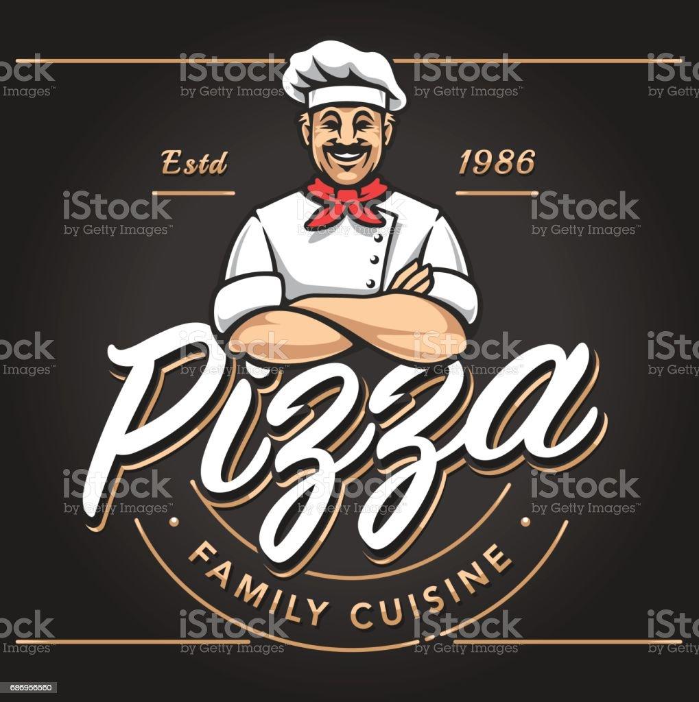 Pizzeria Emblem Design vector art illustration