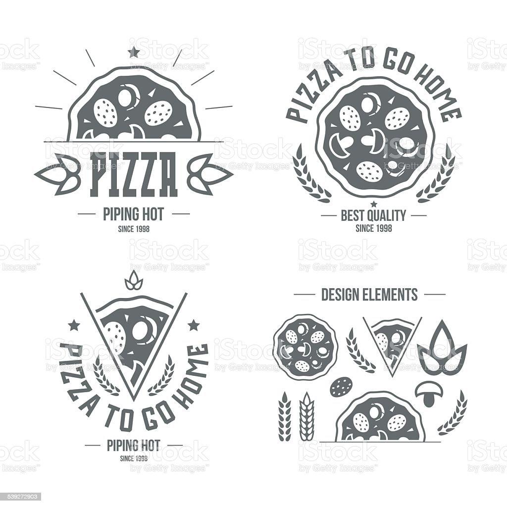 Pizzeria labels, badges and design elements vector art illustration