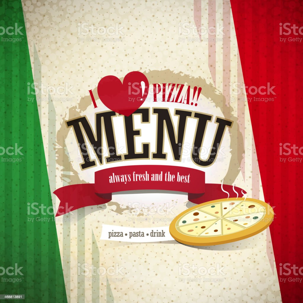 pizzeria menu vector art illustration