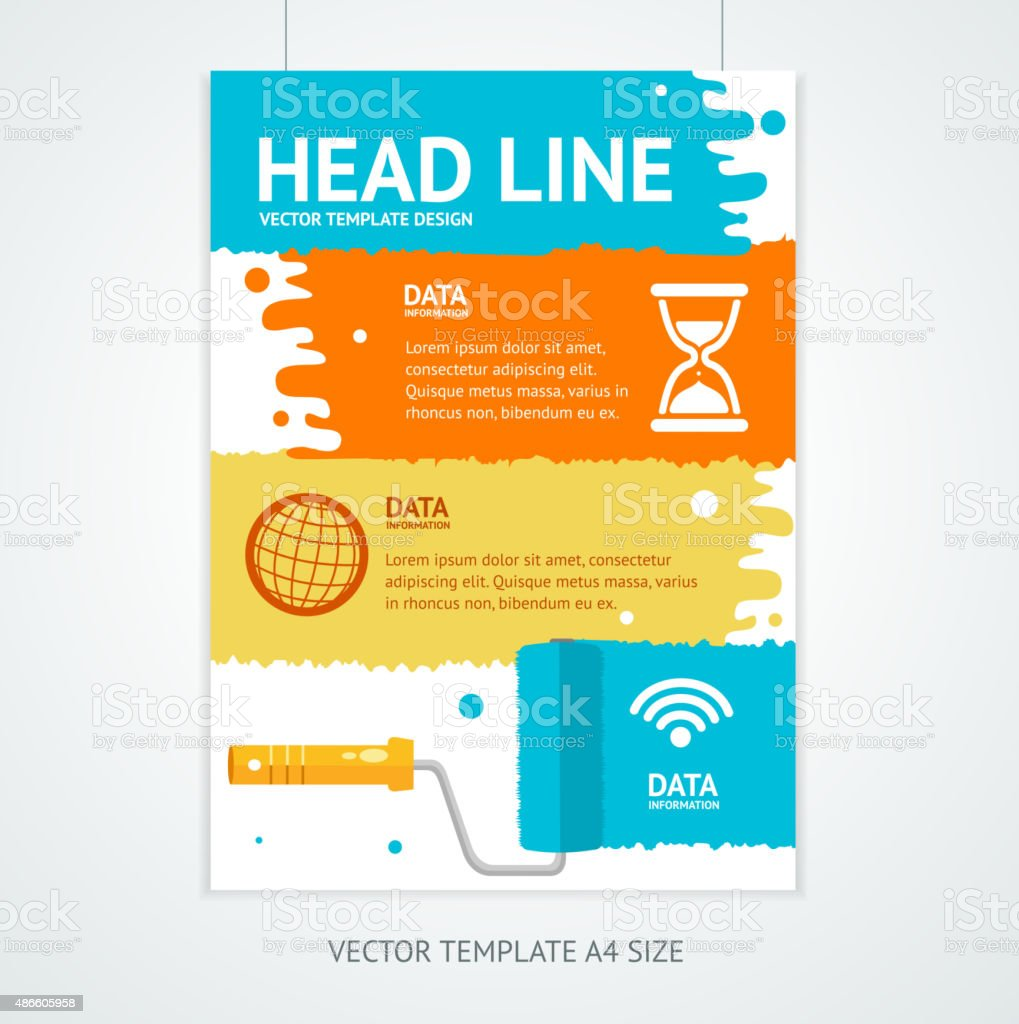 Placard Poster Template with Rollerbrush. Vector vector art illustration