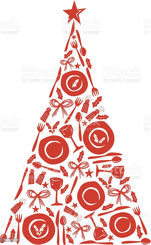 Place Setting Christmas Tree royalty-free stock vector art
